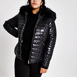 Plus black faux fur high shine puffer jacket