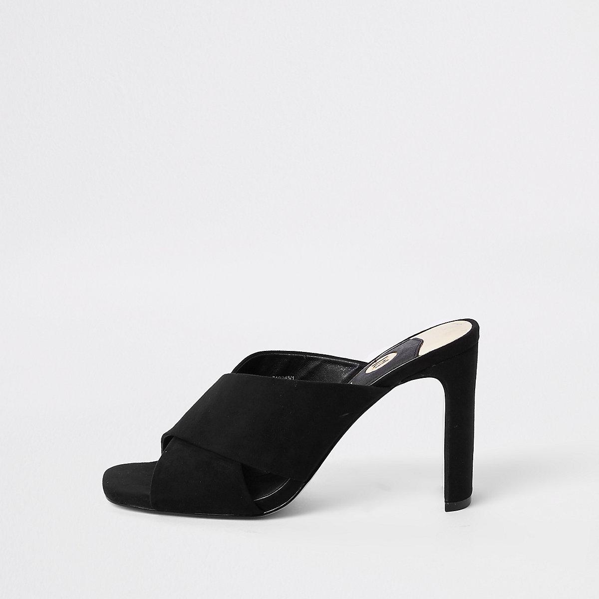 Heel Mule Black Strap Cross Slim Sandals kiXwOPZuT
