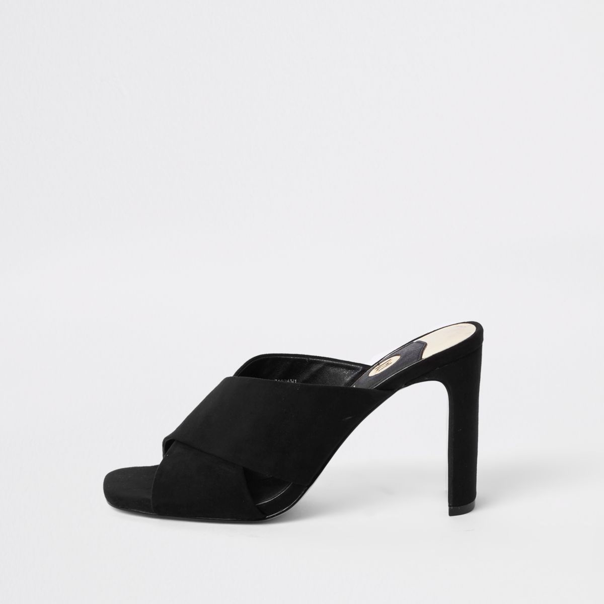 Black cross strap slim heel mule sandals
