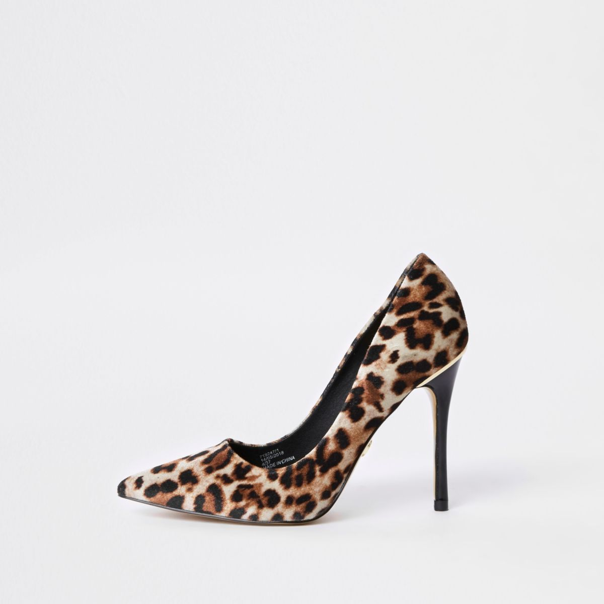 Brown leopard print court shoes