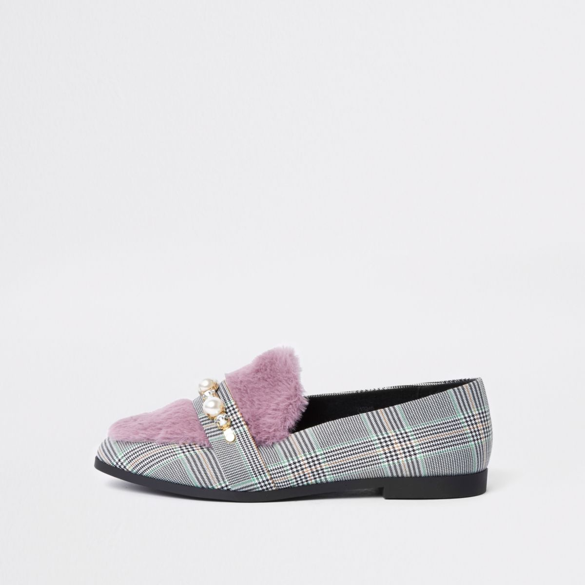 Grey check faux fur wide fit snaffle loafers