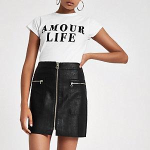 Mini-jupe noire à poche zippée style biker