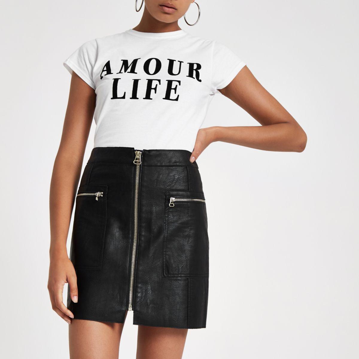 Black zip pocket biker mini skirt