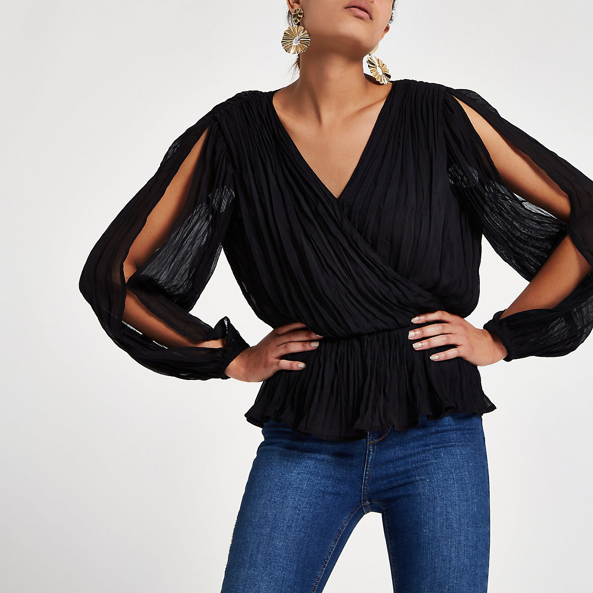 Black pleated wrap top