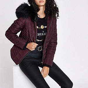 Dark red padded faux fur hood puffer jacket