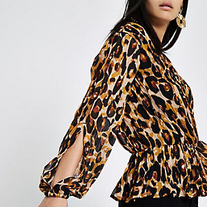 Brown leopard print pleated wrap top
