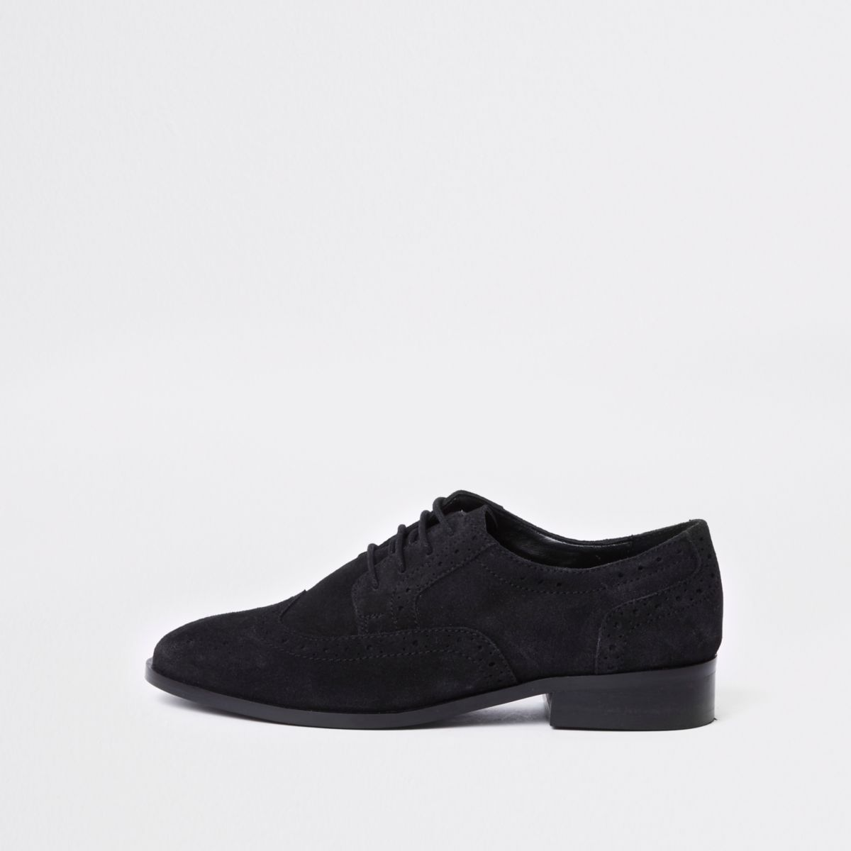 Black suede lace up brogues