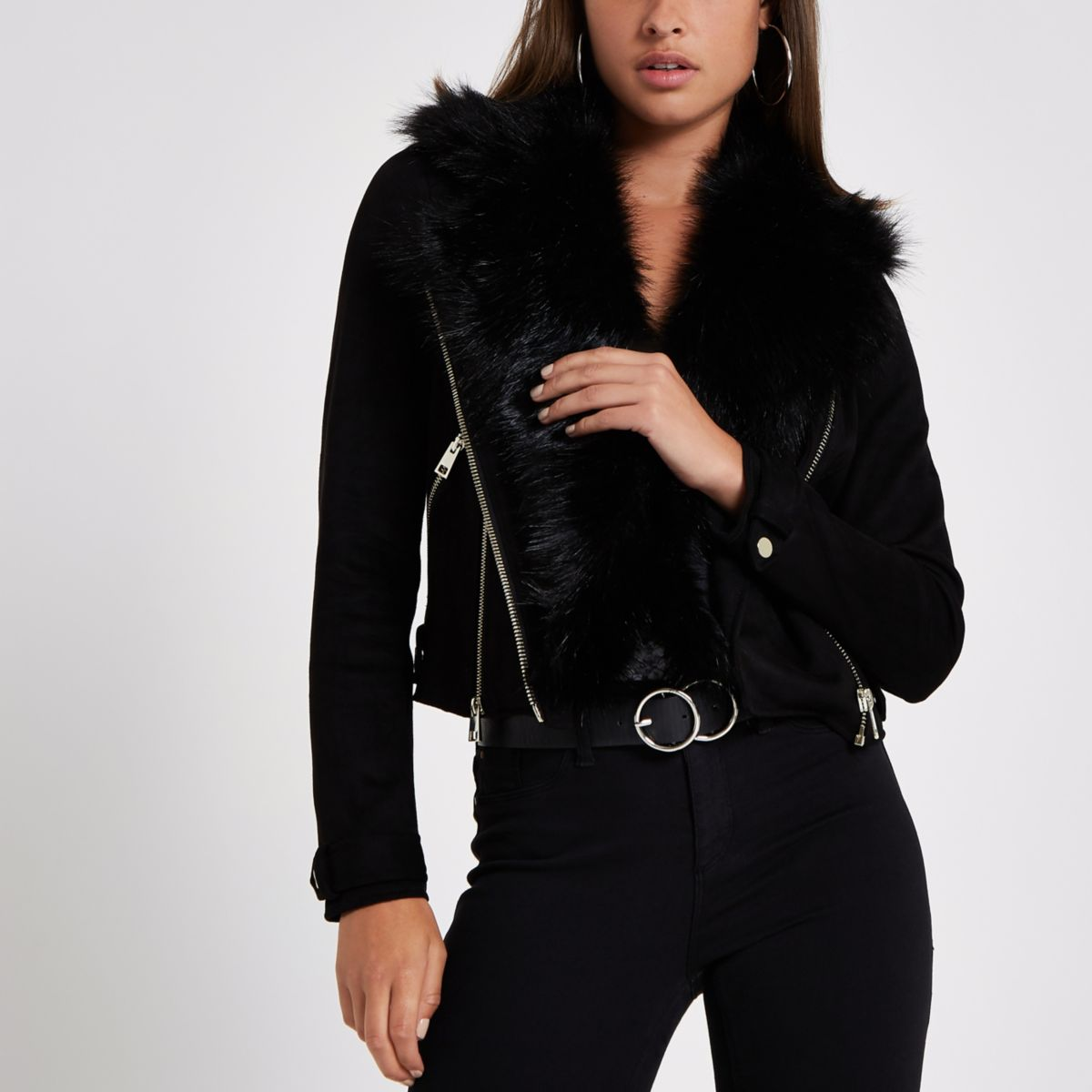 Black suede faux fur trim biker jacket