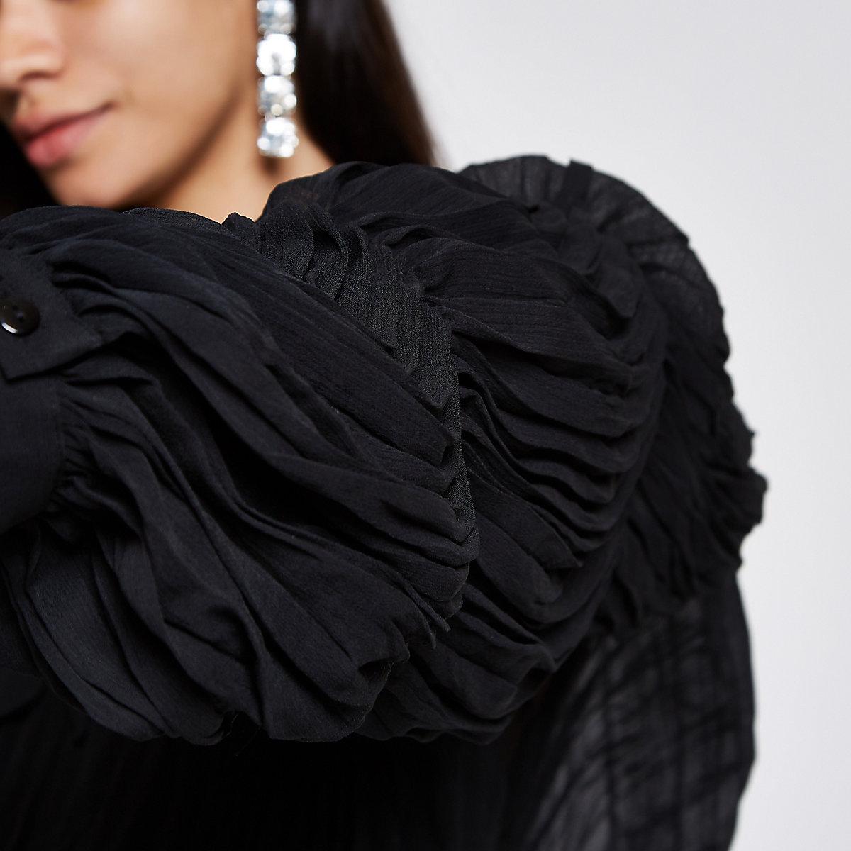 Black puff sleeve tie neck crop top - Crop Tops   Bralets - Tops - women 292e8b0b9
