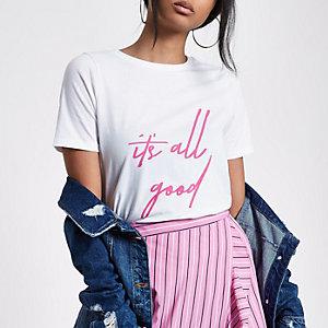 Wit T-shirt met 'it's all good'-print