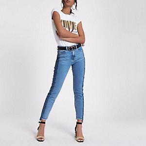 White 'love' print slim fit T-shirt