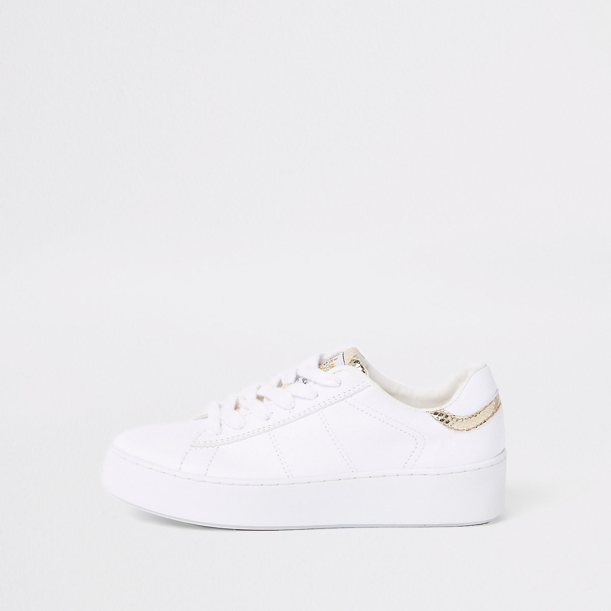 White gold tone lace-up trainers