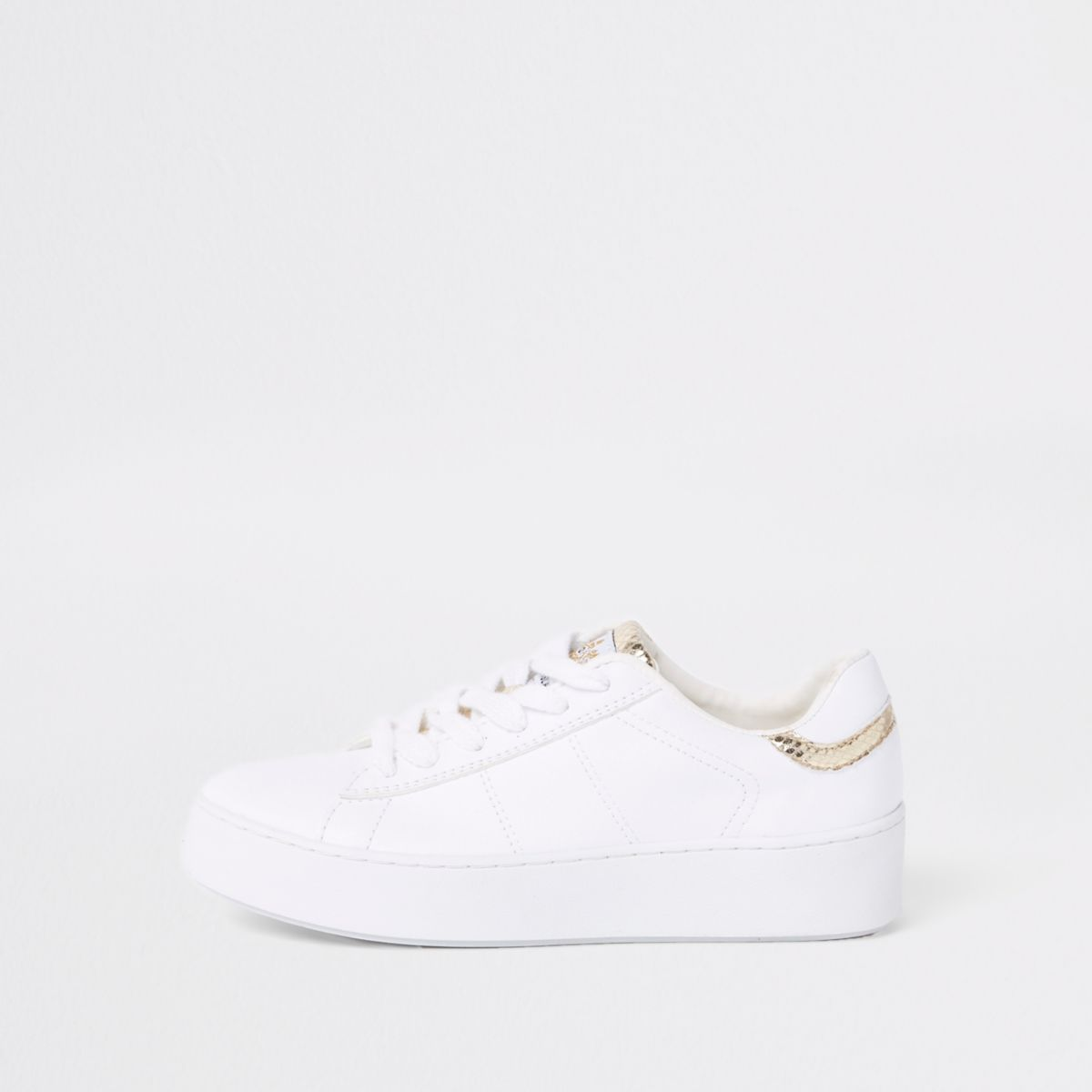 White gold tone lace-up sneakers