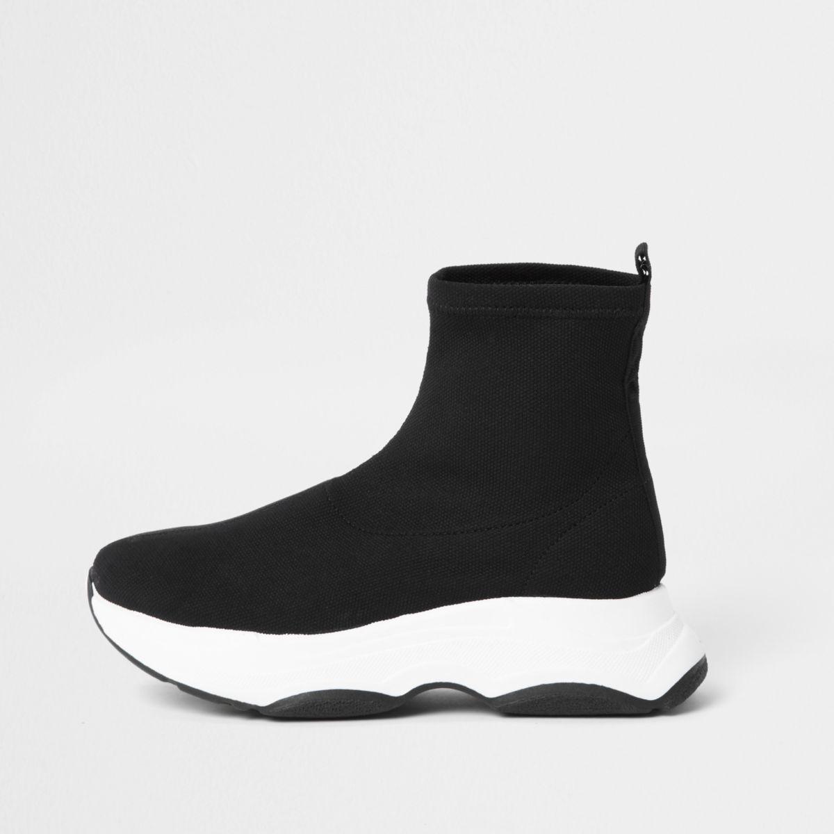 Zwarte gebreide sokvormige sneakers