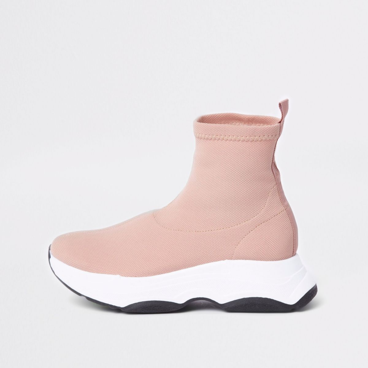 Pink knitted sock runner trainers