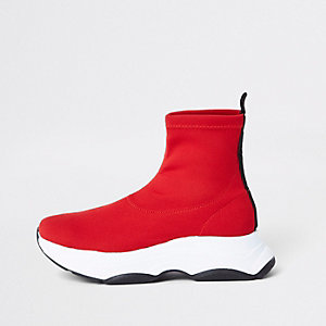 Red knitted sock runner sneakers