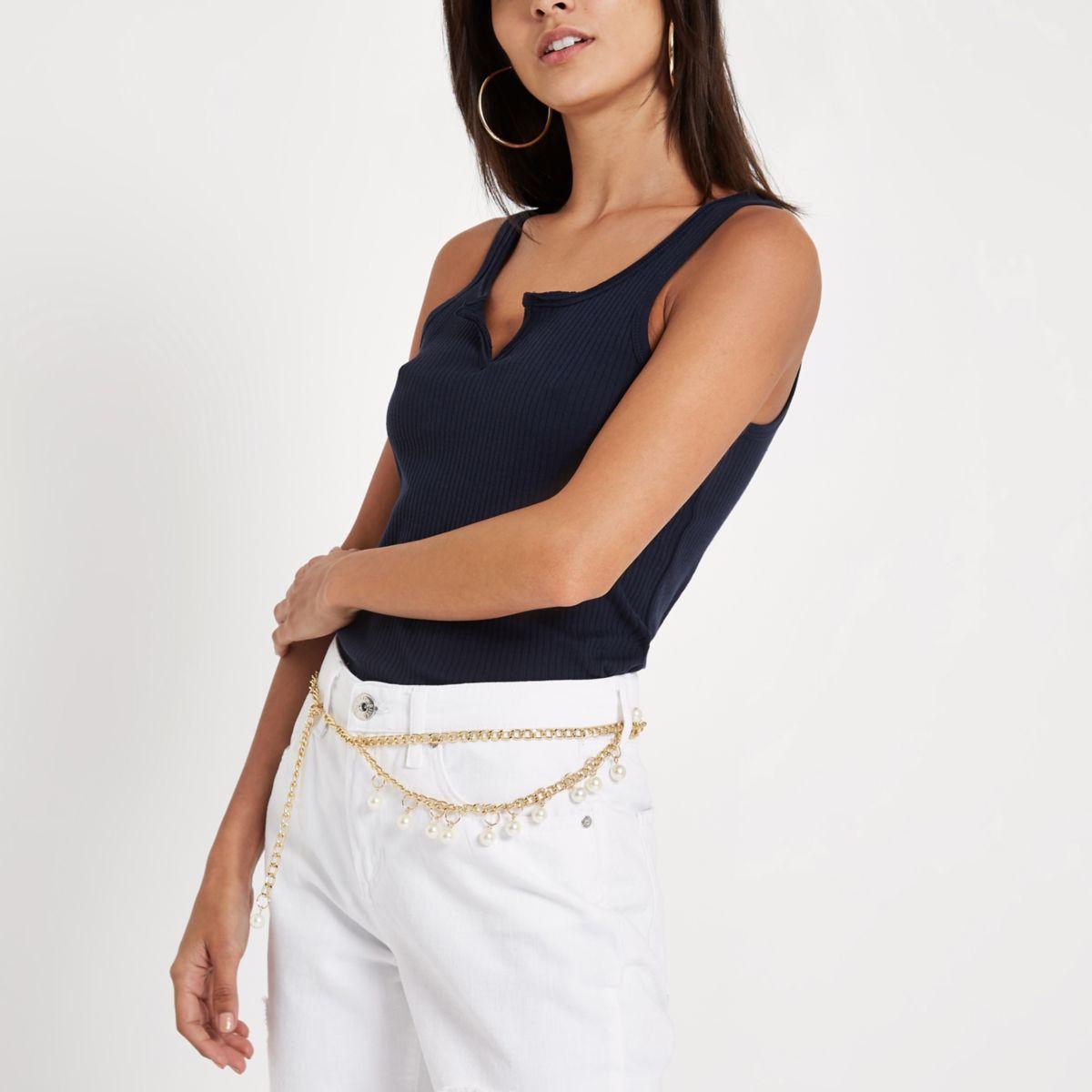 Marineblauw hemdje met inkeping voor