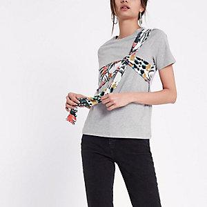 T-shirt à fleurs gris avec nœud sur le devant