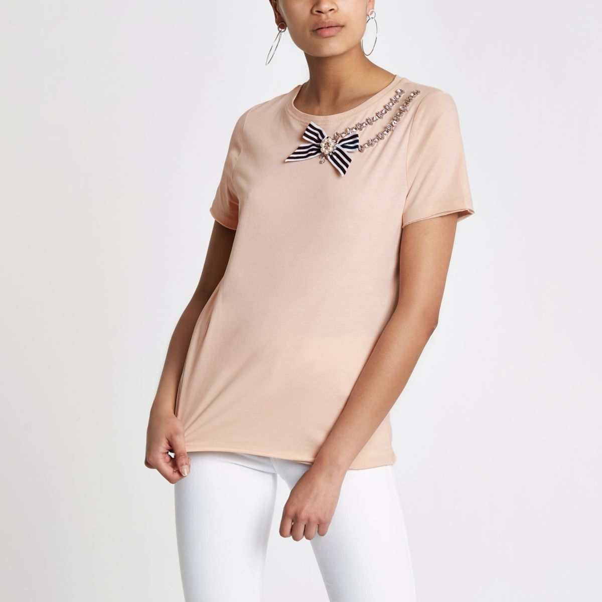 Light pink rhinestone bow trim T-shirt