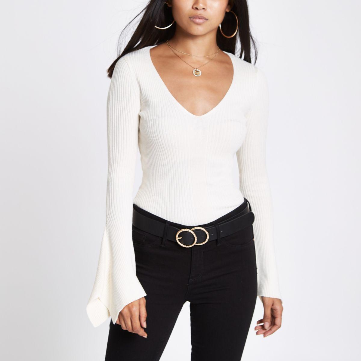 Petite cream rib knit split sleeve top