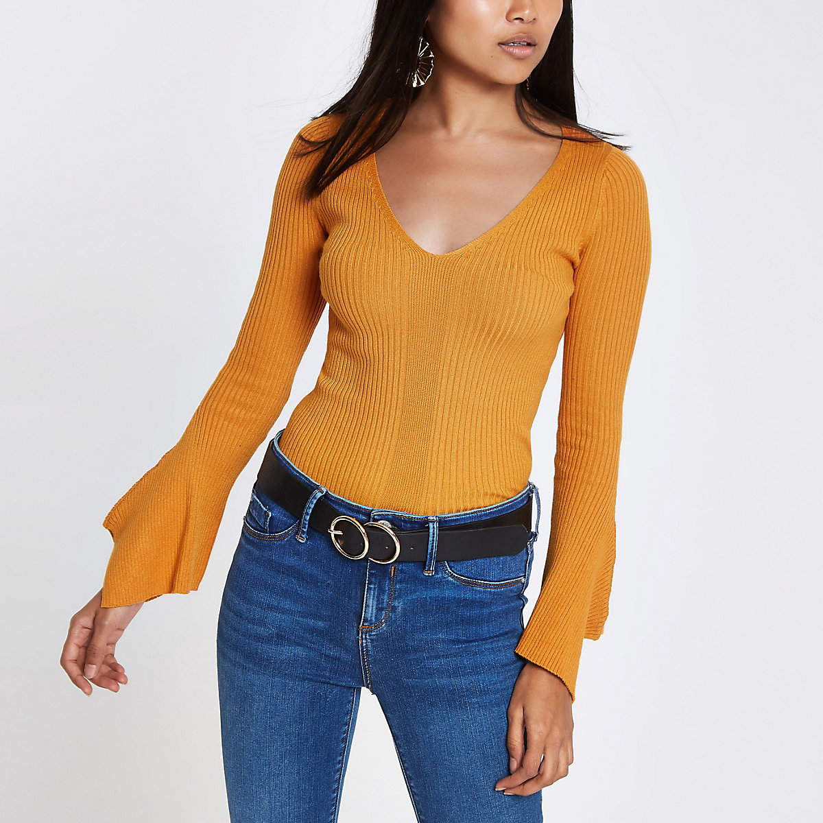 Petite yellow rib knit wide sleeve top