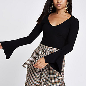 Petite black rib knit split sleeve top