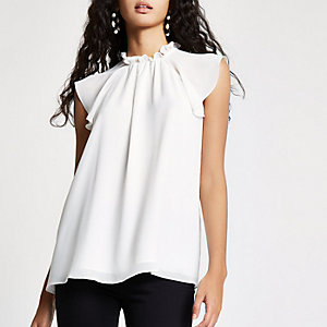 White high neck frill sleeve top