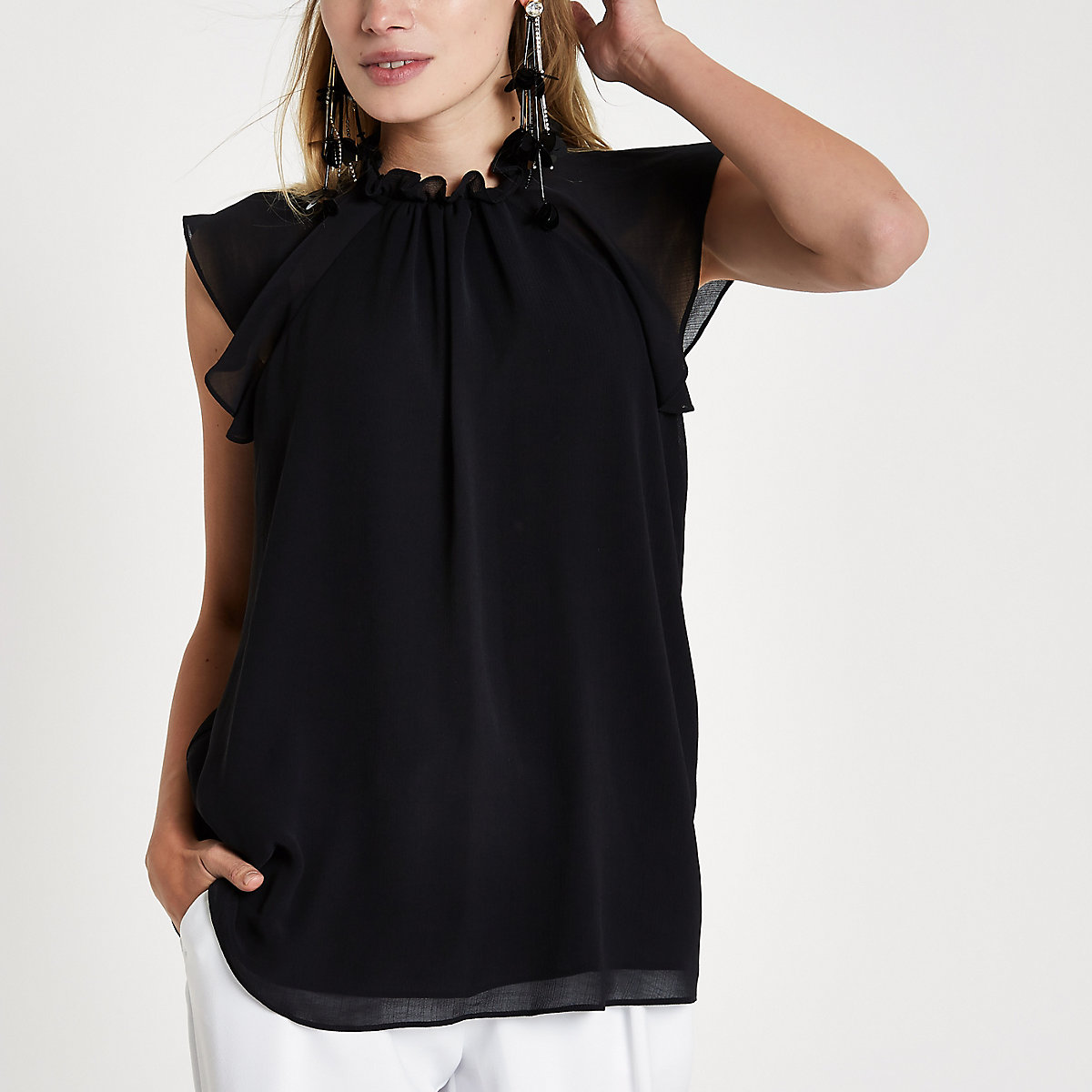 Black high neck frill sleeve top