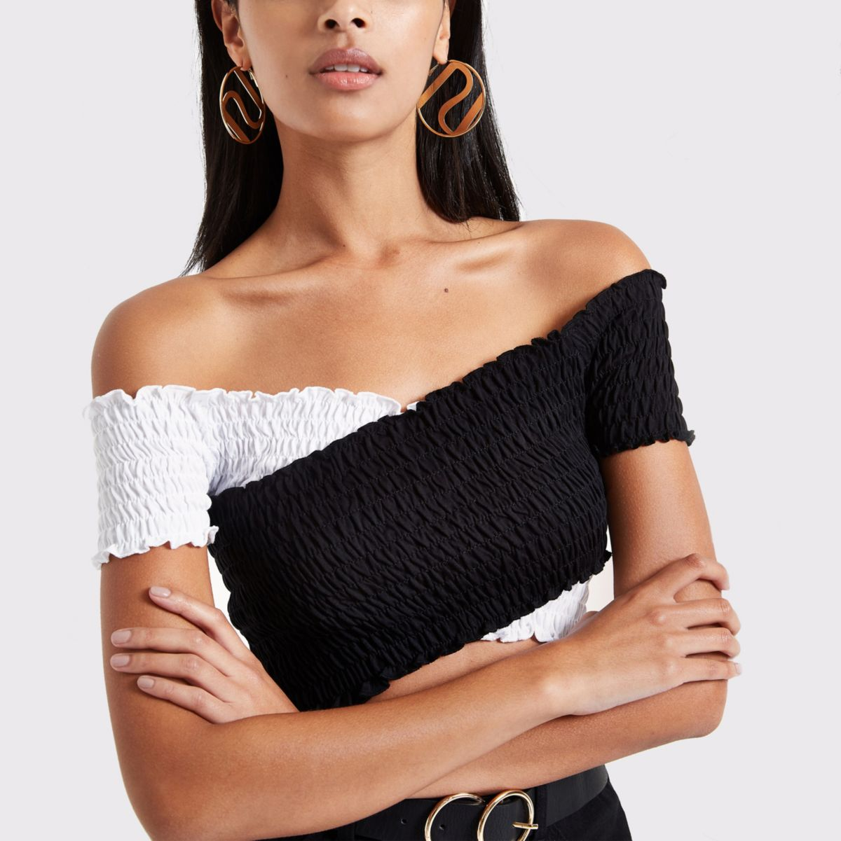 White contrast shirred wrap crop top