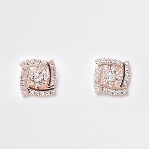 Rose gold square rhinestone stud earrings