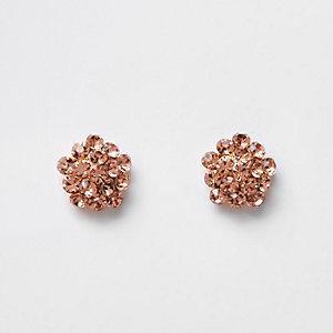 Rose gold diamante cluster stud earrings