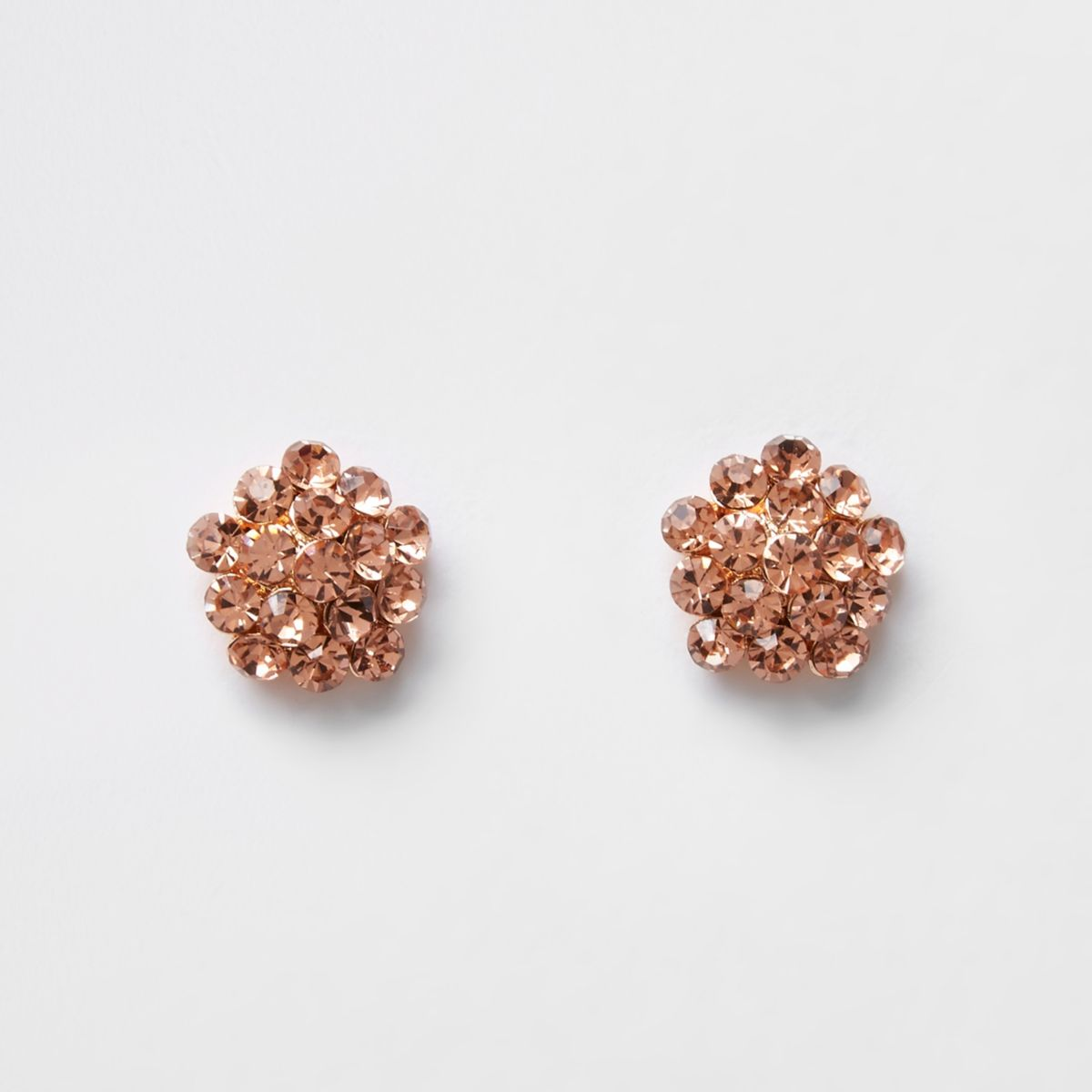 Rose gold rhinestone cluster stud earrings