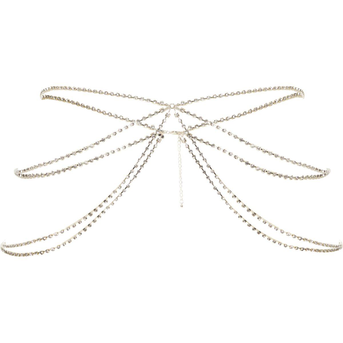 Silver tone diamante cup chain belly chain