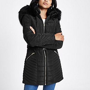 Petite black faux fur belted puffer jacket