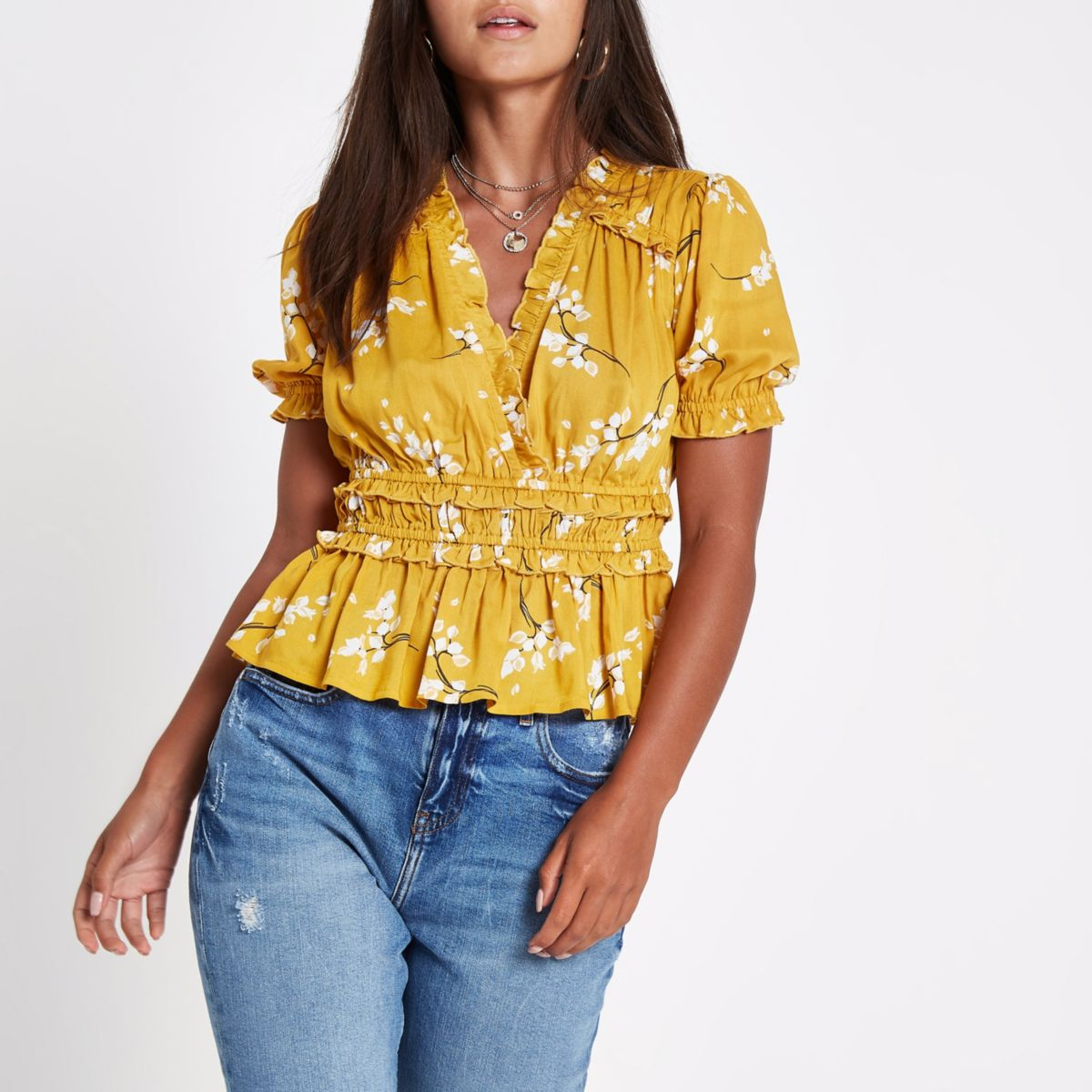 Petite yellow floral ruffle crop top