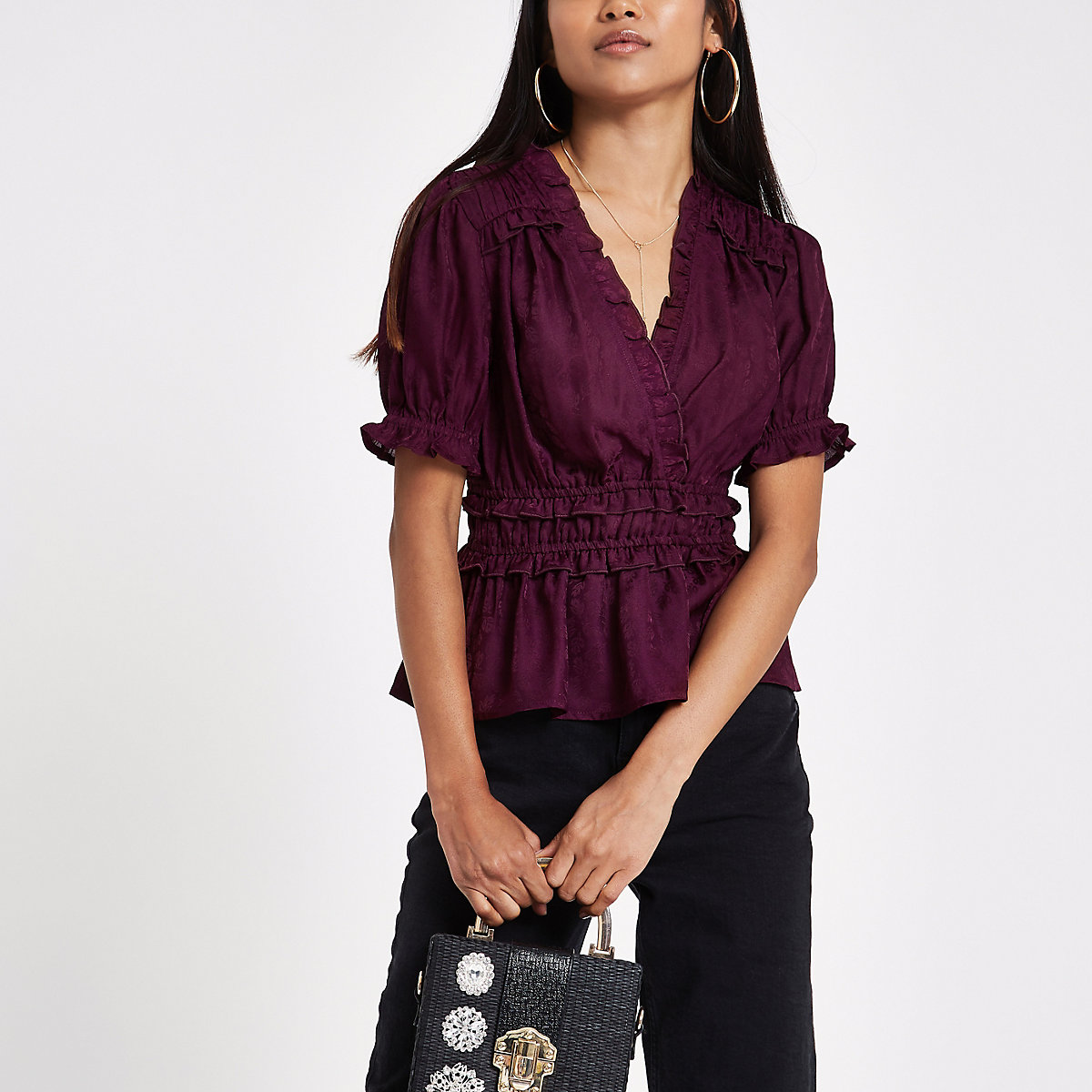 Petite purple jacquard ruffle crop top