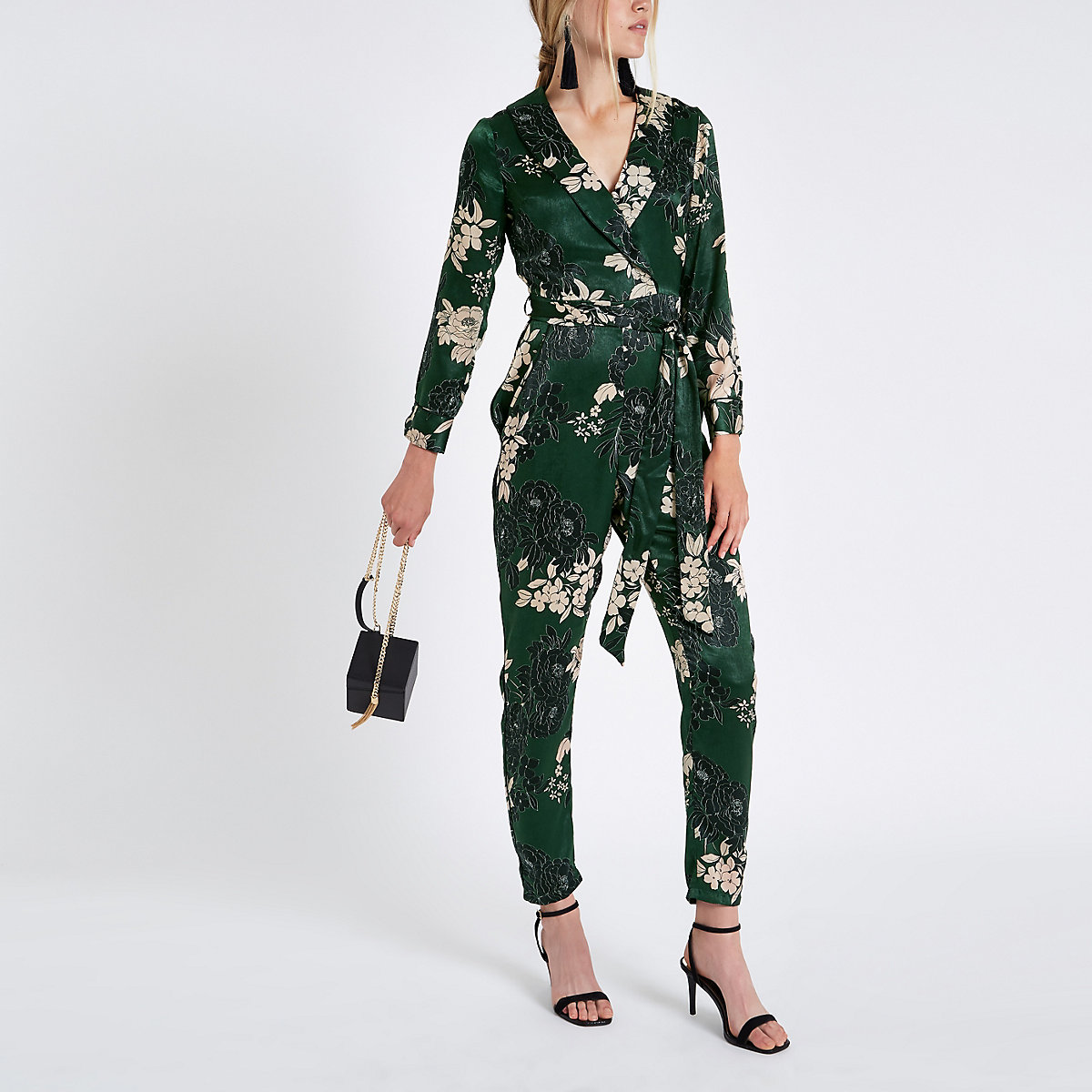 Green floral wrap tailored leg jumpsuit