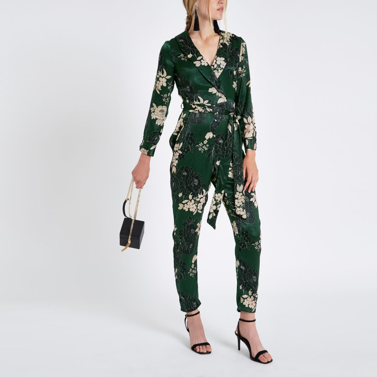 Green floral wrap tailored leg jumpsuit