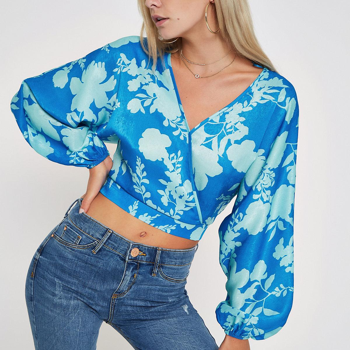 Petite blue floral print wrap crop top