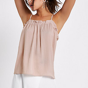 Light pink ruched neck cami top