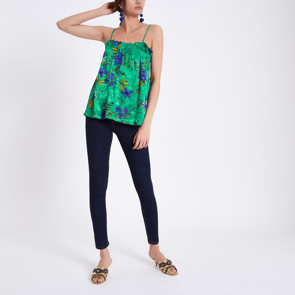 Green floral frill neck cami top