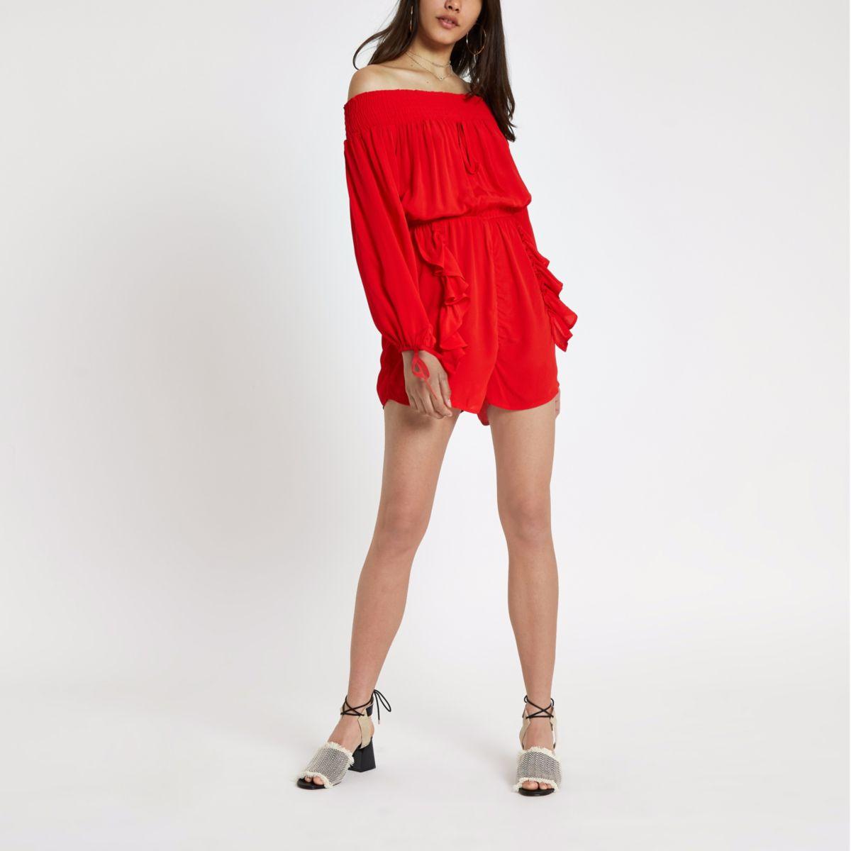 Red shirred bardot playsuit