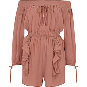 Pink shirred bardot playsuit