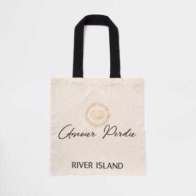 Beige 'amour Perdu' Shopper Tote Bag by River Island