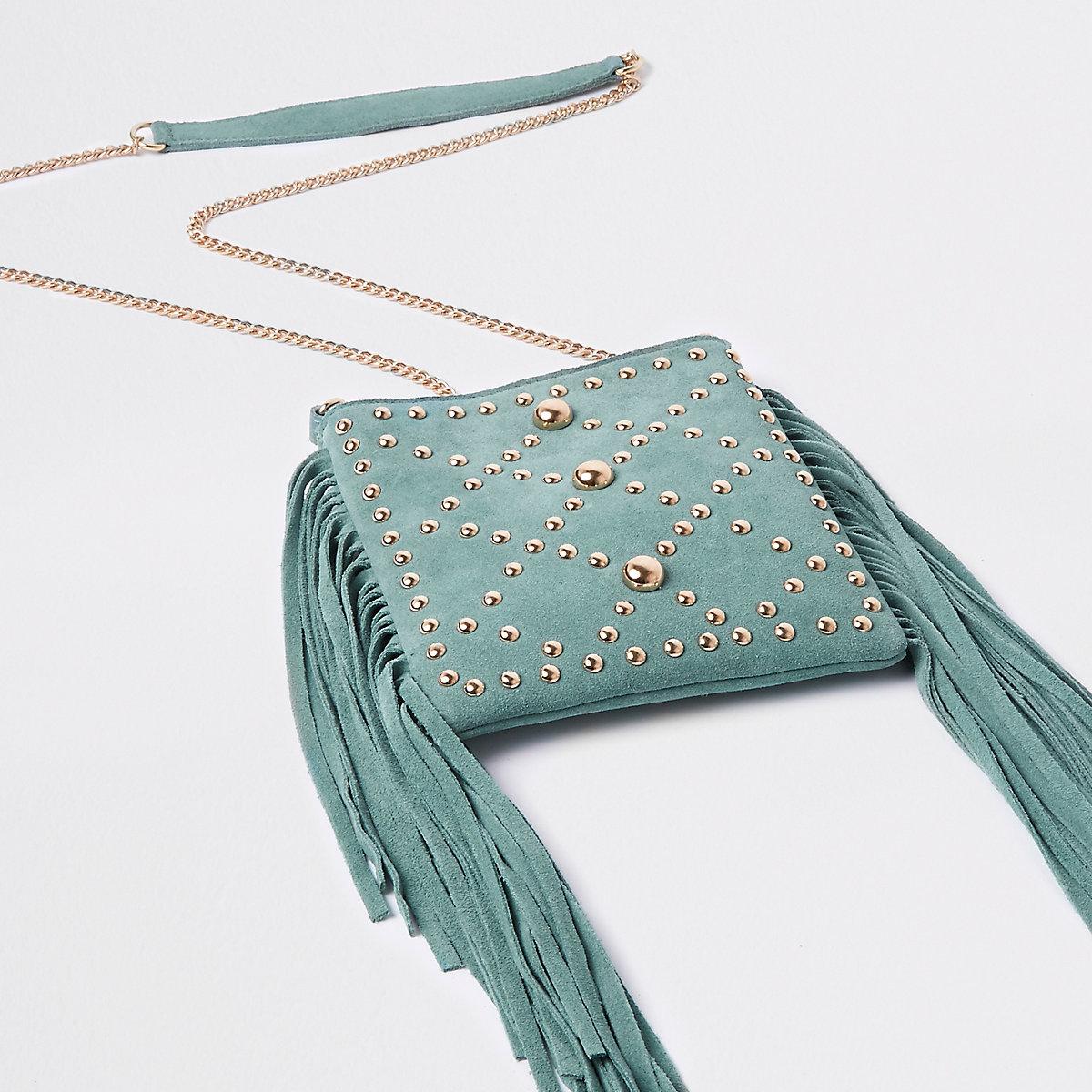 Light green leather tassel cross body bag