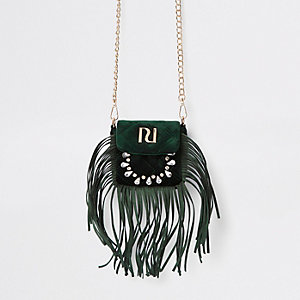 RI 30 green fringe cross body bag