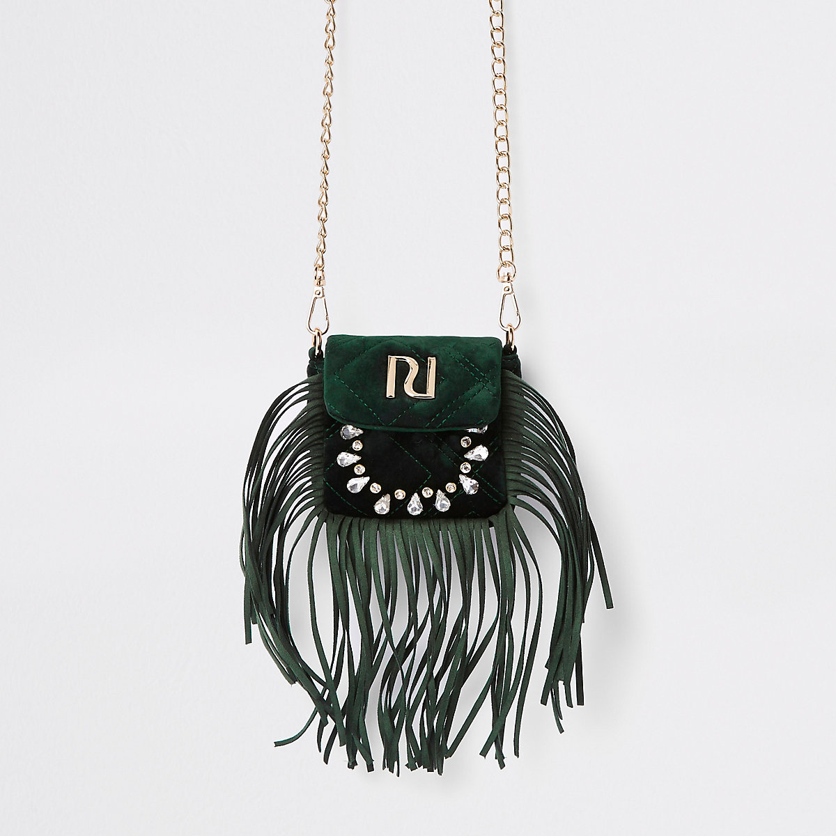 1d523a4d43f6 RI 30 green fringe cross body bag - Cross Body Bags - Bags   Purses - women