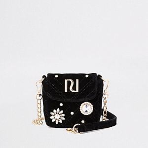 RI 30 black embellished mini cross body bag