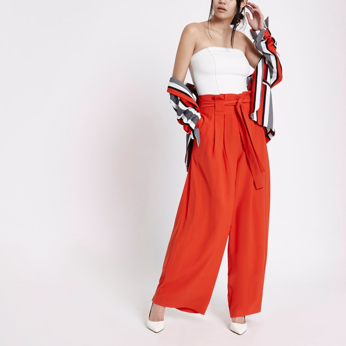Red paperbag waist wide leg pants