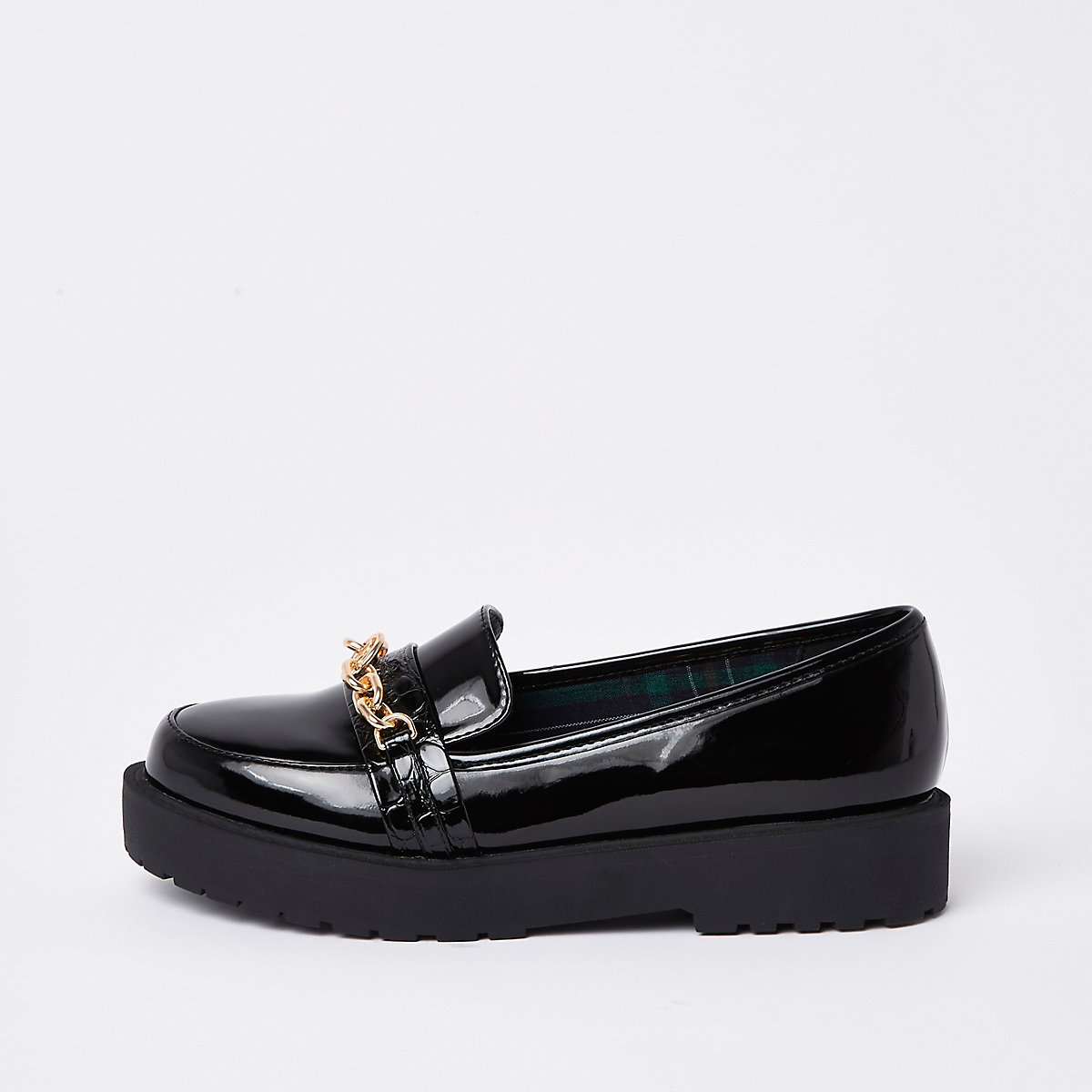 Black wide fit chunky chain loafers